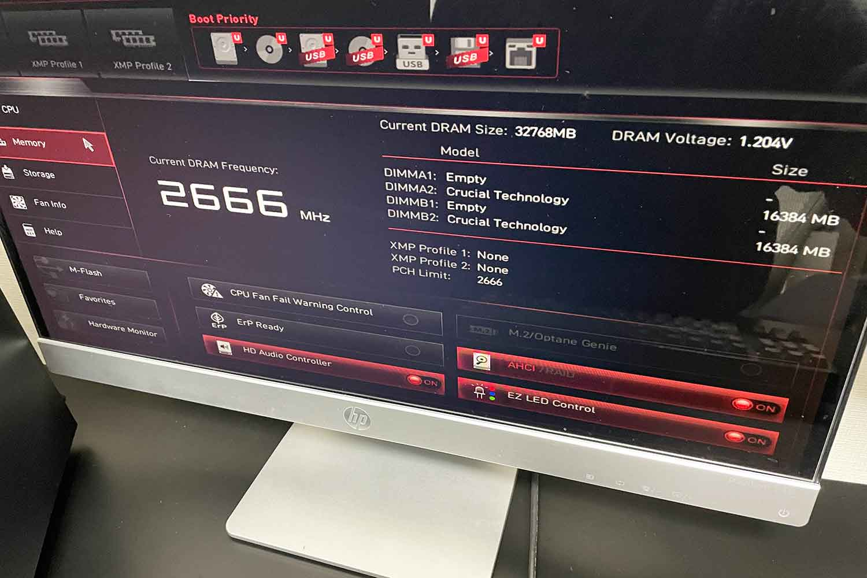 BIOS動作確認 MSI B460m BAZOOKA