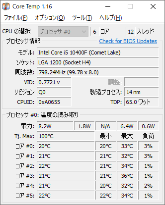 CPU温度 測定結果