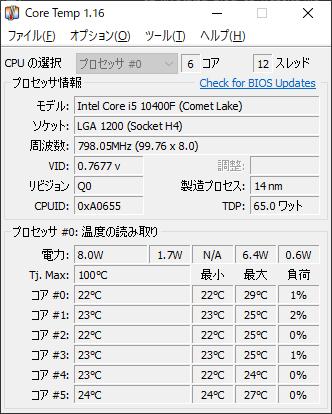 CPU温度 1時間使用 測定結果