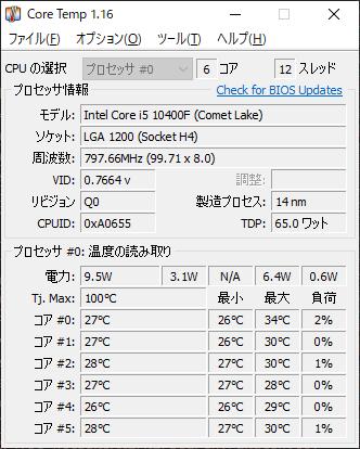 CPU温度 6時間使用 測定結果