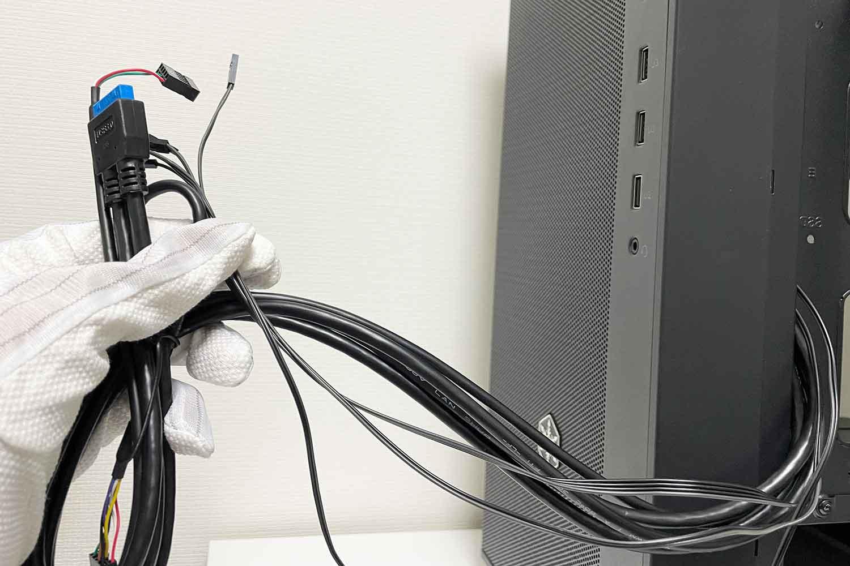 フロントパネルパーツ 配線 ケーブルの確認