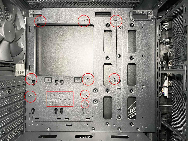 マザーボード Micro-ATX スペーサー&ネジ位置の確認