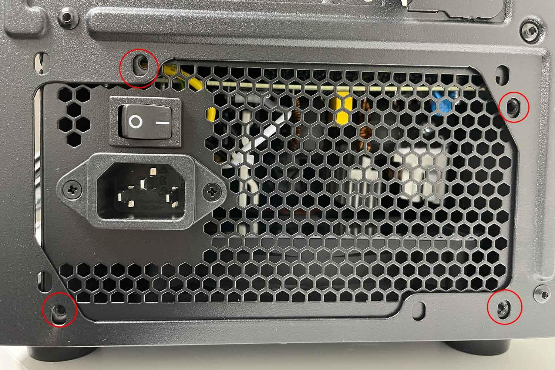 電源ユニット THERMALTAKE 600W SMART ネジ穴の確認