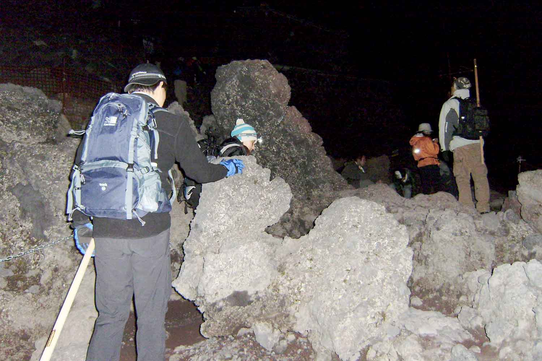 富士山 登山道 夜 岩 ライト